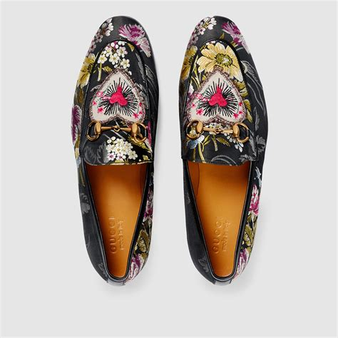 Gucci Shoes 868 1a lyst gucci jordaan floral jacquard loafer in black for