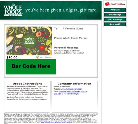 Whole Foods Market Gift Card - 10 whole foods market gift card only 5 from groupon limited quantity