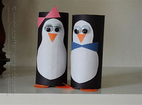 Penguin Toilet Paper Roll Craft - cardboard penguins crafts by amanda