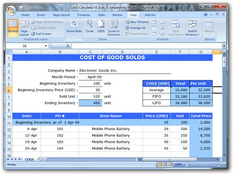 cost of goods sold template cogs calculator 1 0