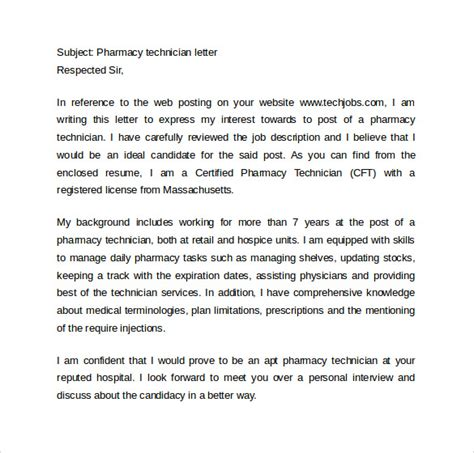 cover letter for pharmacy tech sle pharmacy technician resume 8 free documents in
