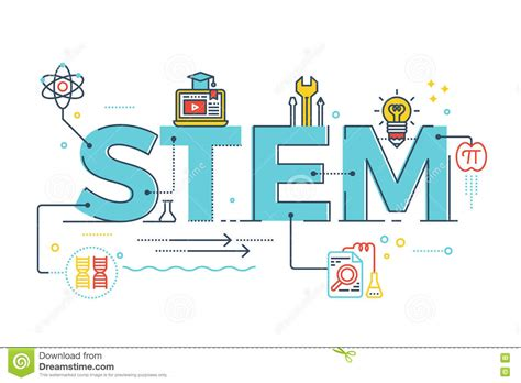 typography stem stem science technology engineering mathematics stock