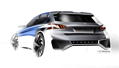 exterior design of car peugeot 308 r hybrid concept design sketch by thomas rohm