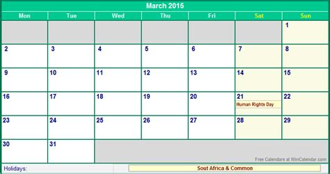 Calendar March 2015 Printable March 2015 South Africa Calendar With Holidays For