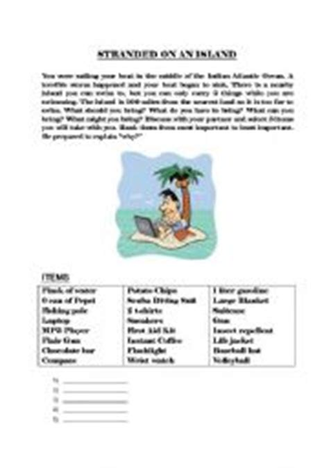 Trapped On An Island Worksheet | english worksheet stranded on an island