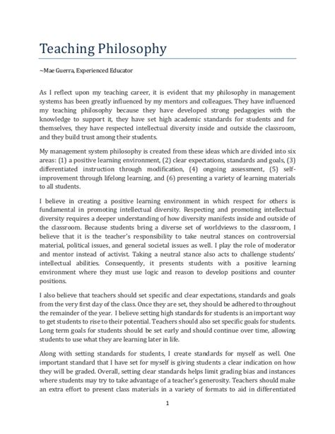 Teaching Philosophy Teaching Philosophy Template