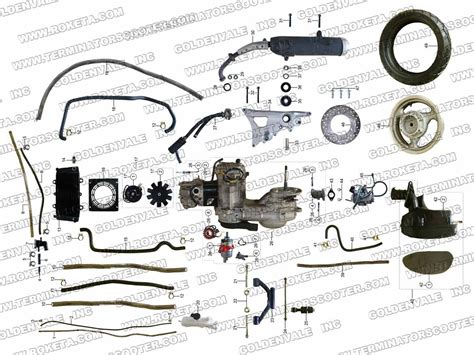 roketa mc   engine  rear wheel assembly parts
