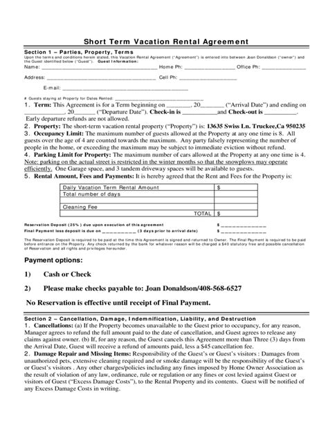 printable short term lease agreement california rent and lease template free templates in pdf