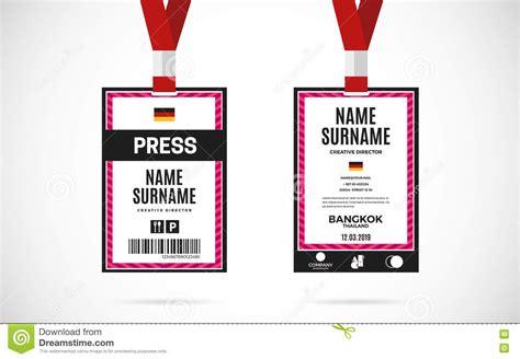 press card template press id card set vector design illustration stock vector