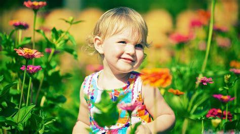 wallpaper flower baby cute little girl wheat field with flowers hd wallpaper
