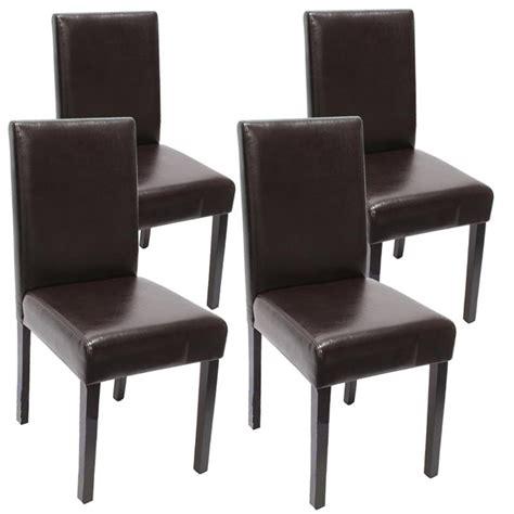 chaise simili cuir marron lot de 4 chaises de salle 224 manger simili cuir marron