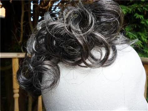 salt and pepper hair bun scrunchie hair extension pony grey salt pepper curly up