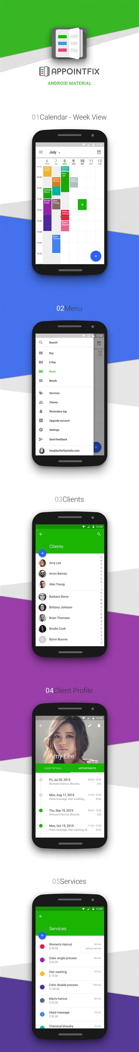 material design guidelines android appointfix 2 0 android material design showcase mobiversal