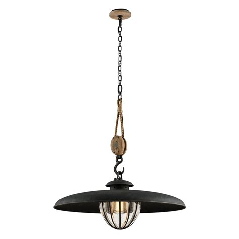 troy murphy vintage iron 32 inch one light pendant with