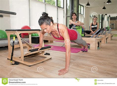 pilates bench exercises stock images pilates on chair image 59164994