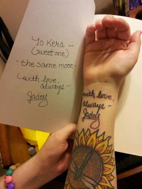 handwriting tattoos hand writing