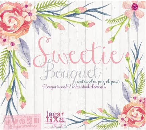 Watercolor Floral Clipart, PNG, Wedding Bouquet, Arrangement, Bouquet, Frames, Digital Paper
