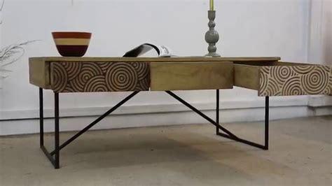 table bois table basse bois m 233 tal 224 tiroirs