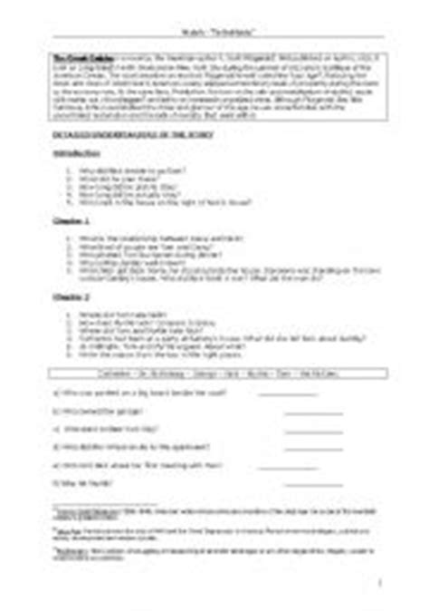 symbols in the great gatsby worksheet intermediate esl worksheets the great gatsby