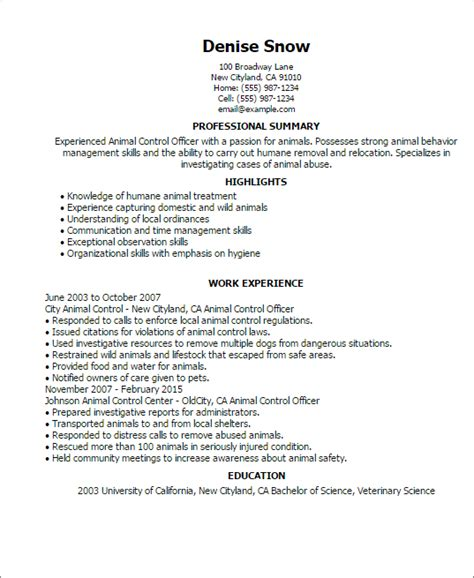 Animal Officer Sle Resume professional animal officer templates to showcase your talent myperfectresume