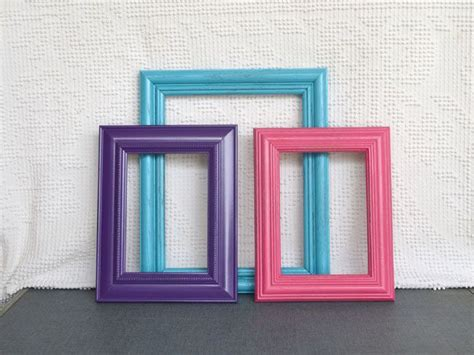 turquoise pink purple frames with glass set of 3 upcycled frames for prints modern teenage
