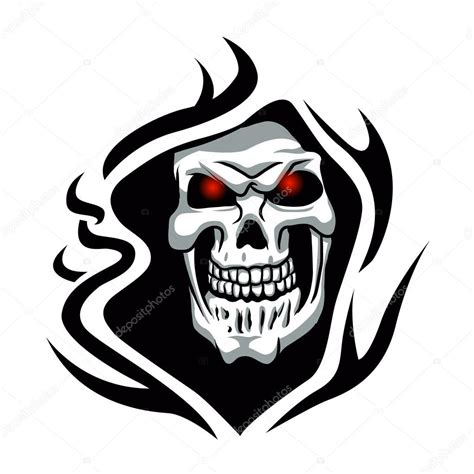 skull tribal tattoo grim reaper tattoo stock vector