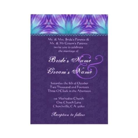 royal purple wedding invitations aqua blue and royal purple floral wedding invitation see