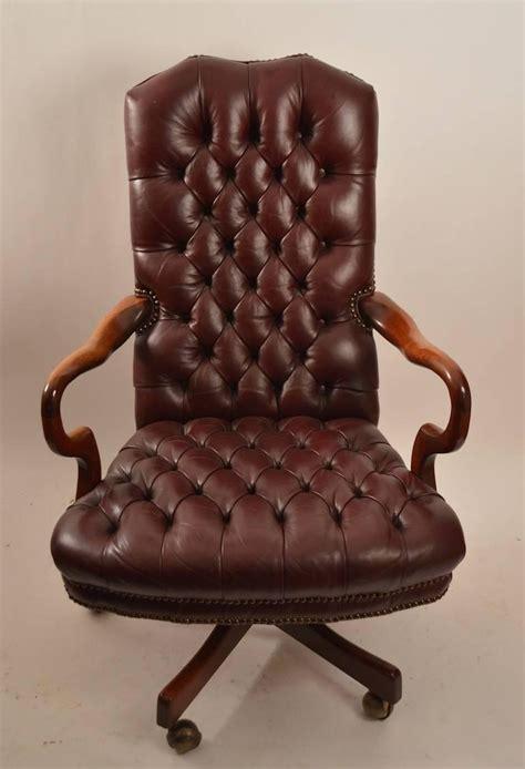 swivel tilt tufted leather chair  stdibs