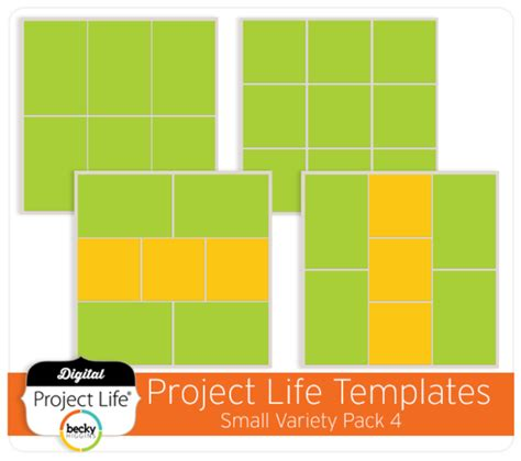 3 In 1 Spot Template Pack project digital scrapbook template small variety pack 4 digitalprojectlife