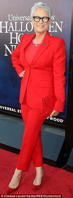 jamie lee curtis red suit bella thorne dons an orange bra alongside boyfriend mod