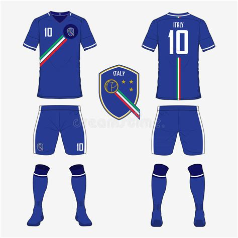 set of soccer jersey or football kit template for italy
