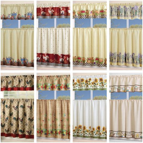Kitchen Drapes And Curtains 3 Floral Kitchen Curtain With Swag And Tier Window Treatment Curtain Set Ebay
