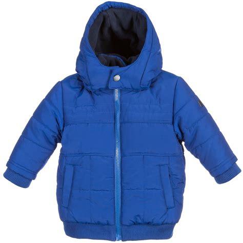 boys blue baby boys blue hooded puffer jacket childrensalon