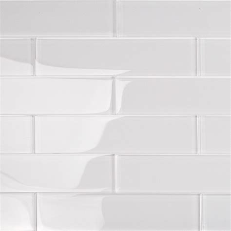 Kitchen Glass Backsplash by Shop For Loft Super White 2x8 Polished Glass Tiles At