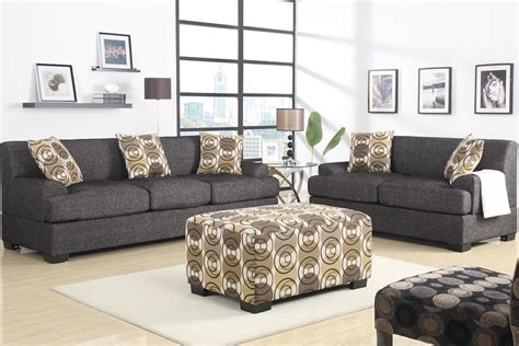 Black Fabric Sofa And Loveseat retro style sofa and loveseat set ash black fabric ottoman