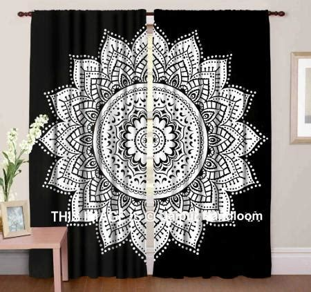 black  white mandala curtains boho bedroom window hanging