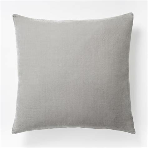 Grey Linen Bedding Luxe Velvet Square Pillow Cover Light Gray West Elm