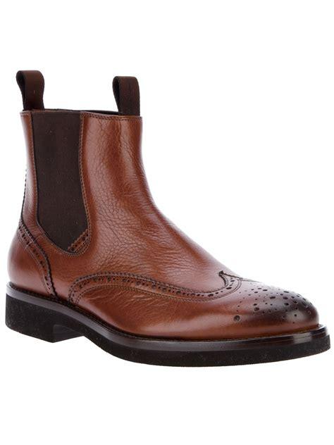 santoni brogue chelsea boot in brown for lyst