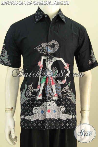 Jual Baju Buat jual baju batik wayang lengan pendek motif setyaki pakaian batik modis keren bahan adem cocok