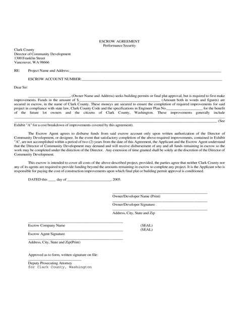 Escrow Agreement Form Clark County Washington Free Download Escrow Template