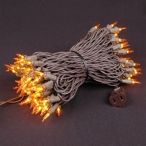 amber orange christmas mini lights set 100 light brown