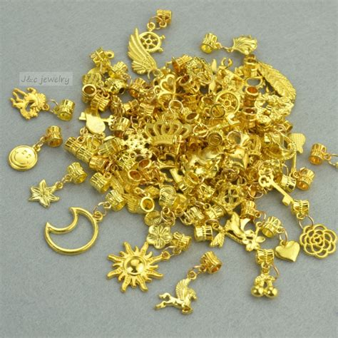 Charm Gold new 50pcs mixed wholesale metal charms gold big bead