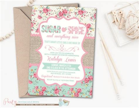 Sugar And Spice Baby Shower Invitation Card by Baby Shower Invitation Sugar And Spice Baby By