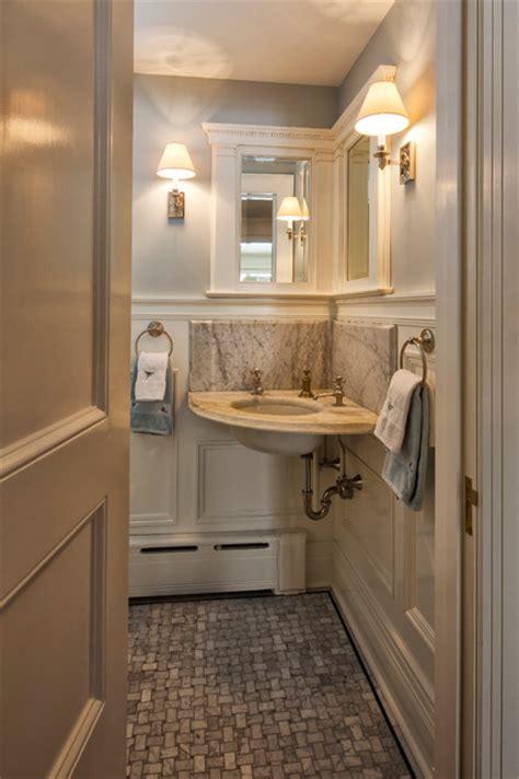 corner powder room sink neoclassical home traditional powder room new york