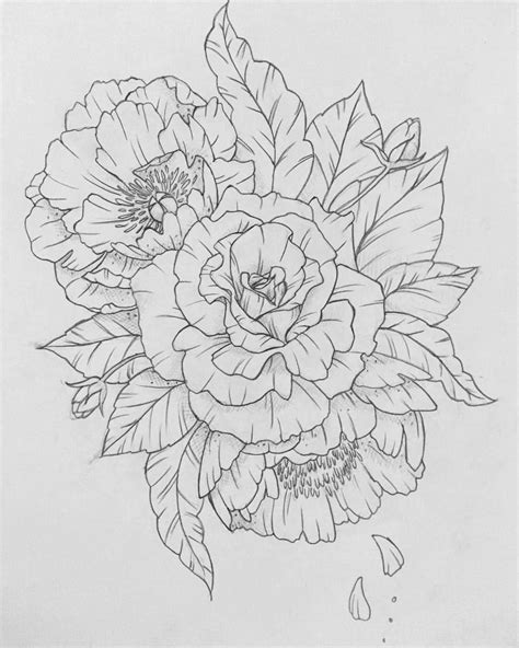 carnation flower tattoo designs roses and peonies drawing peony