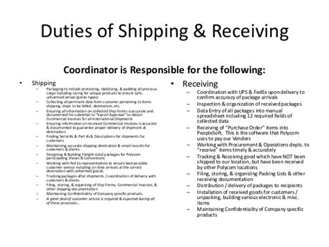 Shipping And Receiving Duties by Shipping Receiving