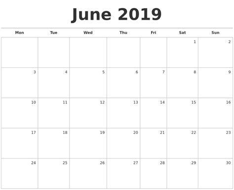 Calendar 2019 June June 2019 Blank Monthly Calendar