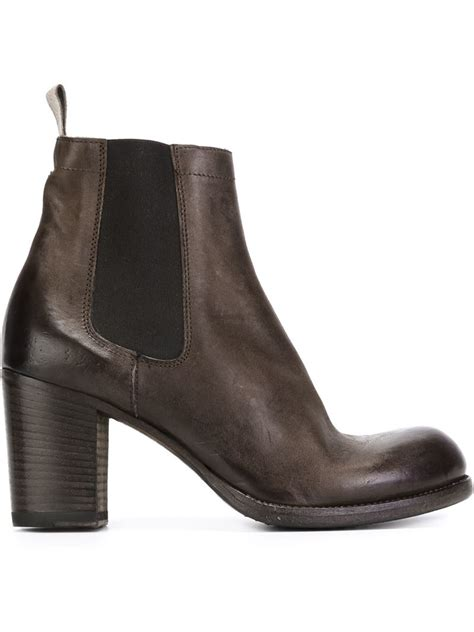 heeled boots lyst pantanetti chunky heeled chelsea boots in brown