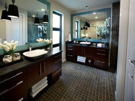 contemporary master bathroom with dark wood vanities a photo page hgtv