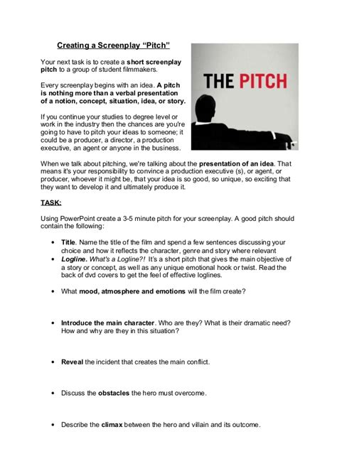 documentary pitch template btec the screenplay pitch